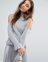 Boohoo High Neck Cold Shoulder Ruffle Sweater