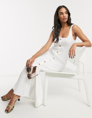 ASOS DESIGN rib square neck button through maxi dress in white