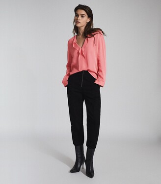Reiss Rochelle - Pintuck Detailed Blouse in Pink