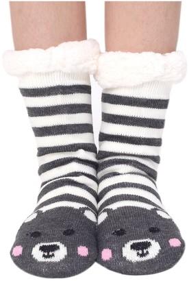 Houda Womens Warm Soft Cute Cartoon Animals fuzzy Cozy Non-Slip Winter Indoor Slipper Socks;One Size (02 Bear)