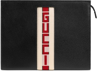 Gucci stripe leather pouch