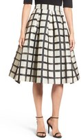 Eliza J Women's Windowpane Metallic Jacquard Midi Skirt