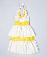 Ivory & Yellow Tiered Lace Halter Dress - Infant Toddler & Girls