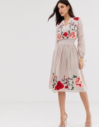 Asos Design DESIGN floral embroidered midi dress-Beige
