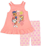 Children's Apparel Network PAW Patrol 'Pups' Coral Ruffle Tank & Shorts - Toddler & Girls