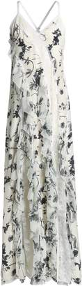 Alice + Olivia Lace-trimmed Ruffled Floral-print Silk Crepe De Chine Gown