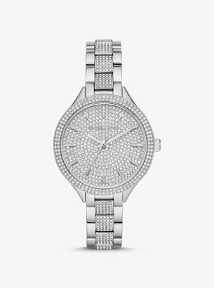 Michael Kors Slim Runway Pave Silver-Tone Watch
