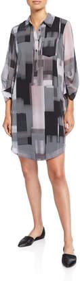 Kenneth Cole New York Utility Stripe Print Shirt Dress