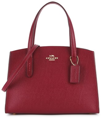 Coach Charlie 28 Red Leather Top Handle Bag