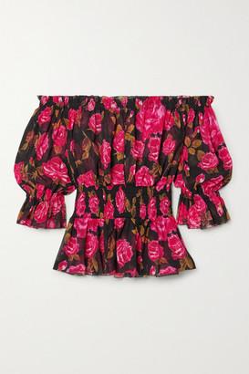L'Agence Aubriella Off-the-shoulder Floral-print Crepon Top