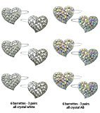 B.ella Set of 6 Pairs of Crystal Heart Barrettes with Snap-On Clip for Thin Hair U86350-1887-6