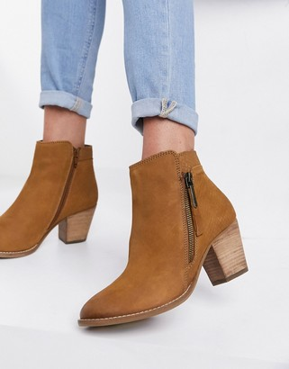 Dune side zip western heeled ankle boots in tan suede