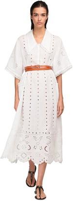 Eyelet Lace Linen Midi Dress
