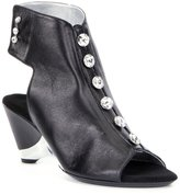 Onex Rock-On-3 Leather Jeweled Peep-Toe Metallic Trim Booties