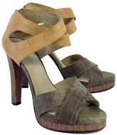 Elizabeth and James Green & Tan Sandal Heels