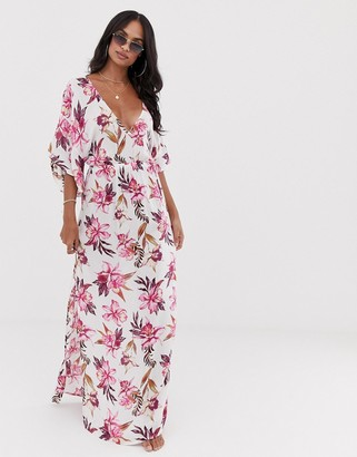 Asos DESIGN maxi dress with kimono sleeve in painted floral print