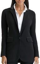Lauren Ralph Lauren Faux Leather Trim Knit Blazer