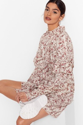 Nasty Gal Womens Plant Stop Me Now Floral Mini Dress - Cream