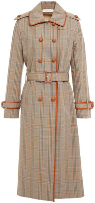 Tory Burch Leather-trimmed Checked Cotton Trench Coat