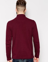 Farah Polo Shirt with Textured Panel in Long Sleeve Slim Fit