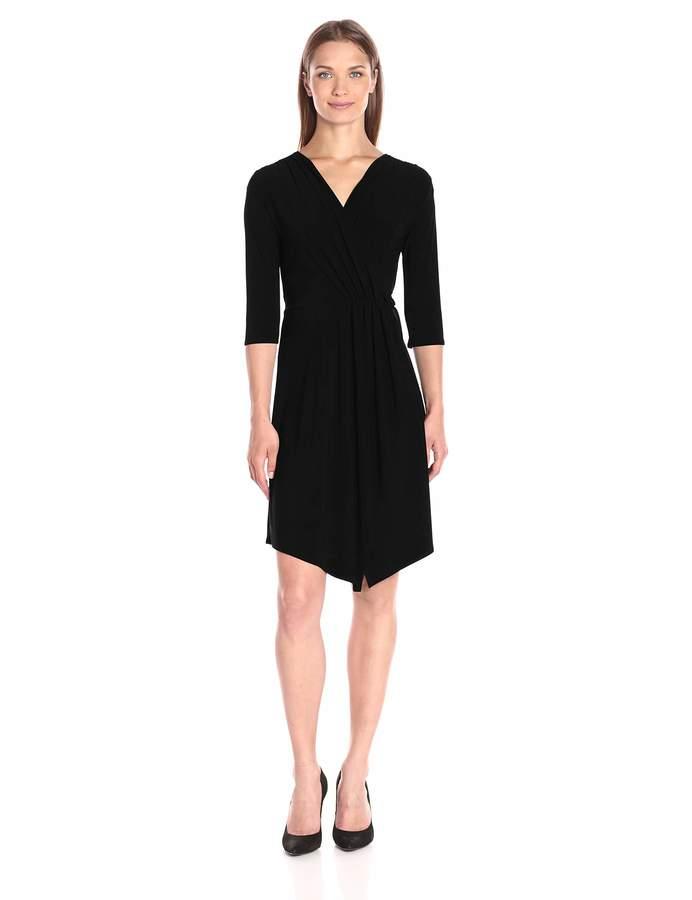 Star Vixen Women's Plus Size 3/4 Sleeve Surplice Wrap Bodice Short Ity Knit Ballerina Dress with Tulip Wrap Skirt and Handkerchief Hem