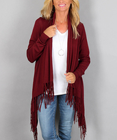 Love Tree Wine Fringe Open Cardigan