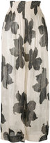 Forte Forte floral print sheer trousers - women - Silk/Linen/Flax - 3