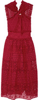 Oscar de la Renta Ruffle-trimmed Broderie Anglaise Cotton Midi Dress - Red