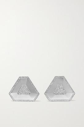 Ofira Shield 18-karat White Gold Diamond Earrings - one size