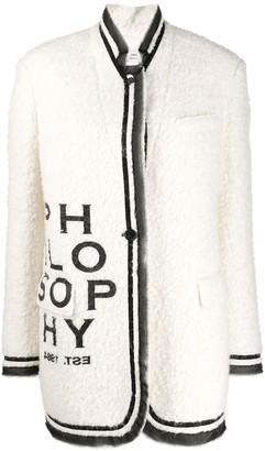Philosophy di Lorenzo Serafini logo print coat