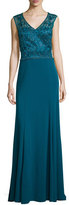 Sue Wong Sleeveless Open-Back Gown, Peacock