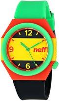 Neff NF0225-RAST Men's Stripe Stylish Rasta Plastic Silicone Band Watch