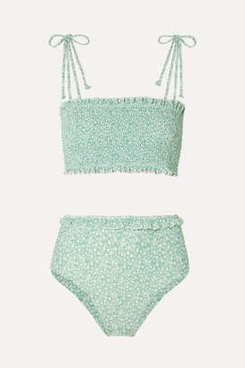 Faithfull The Brand Adeline And Wildflower Smocked Floral-print Bikini - Mint