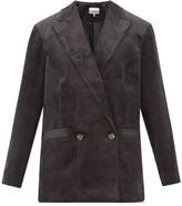 Ganni Double-breasted Cotton-corduroy Blazer - Womens - Dark Grey