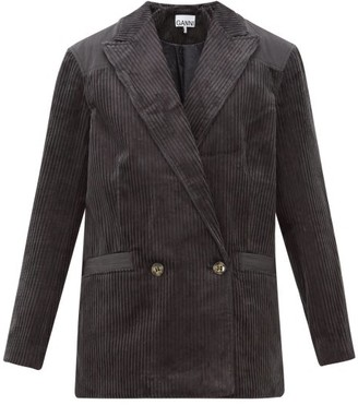 Ganni Double-breasted Cotton-corduroy Blazer - Womens - Dark Grey