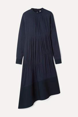 Tibi Asymmetric Gathered Polka-dot Voile Midi Dress - Navy