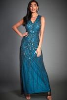 Jywal London Anna Blue Embellished Evening Maxi Dress