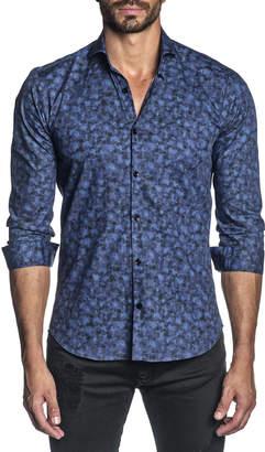 Jared Lang Men's Long-Sleeve Tie-Dye Printed Sport Shirt