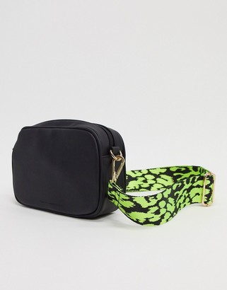 French Connection shoulder bag with neon leopard strap