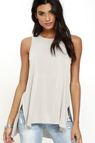 Lush Give it All You've Got Light Grey Tank Top