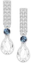 Swarovski Silver-Tone Clear & Blue Crystal Drop Earrings