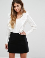 Boohoo Ruffle V Neck Cotton Shirt