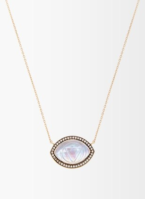 Noor Fares Ajna Diamond, Quartz & 18kt Gold Pendant Necklace - Clear