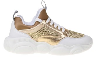 Moschino Teddy Sneakers In Leather And Fabric