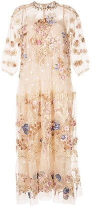 Biyan Floral-Embroidered Tulle Dress