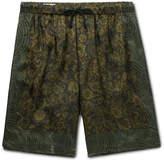 Dries Van Noten Piper Wide-Leg Printed Satin Drawstring Shorts