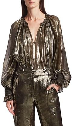 Derek Lam Helena Lame Silk-Metallic Puff-Sleeve Blouse