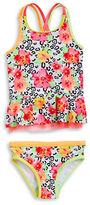 Flapdoodles Girls 2-6x Mixed Print Tankini Swimsuit Set