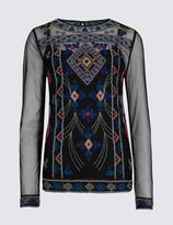 Marks and Spencer Long Sleeve Embroidered Shell Top