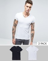 Emporio Armani 2 Pack Stretch Cotton V-Neck T-Shirt In Extreme Fitted Fit